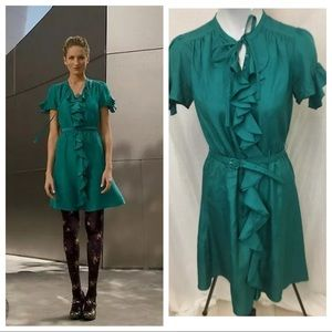 Anthropologie Lil Green Silk Jade Shirt Dress